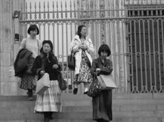 Sisterhood of the Stairs. (RICHARD OSTROM) Tags: monochrome girls youth heavy warrior woman earth europe easy epic people vision heat madrid spain total 2018 street span boobs gal dslr canon 7d