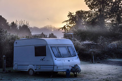 306/365 - Mineral & Vegetable (Cold, Cold, Cold)! (Nikki M-F) Tags: wales uk dawn morning light frost caravan mist autumn