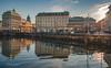One day in Gothenburg (Fredrik Lindedal) Tags: gothenburg göteborg city cityscape train tram light sunrays sunlight building buildings water reflection reflections church sverige sweden lindedal