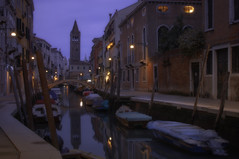 Venetian paths 137(San Barnaba) (Maurizio Fecchio) Tags: venice venezia italy sunset tramonto church sky boats bridge light city cityscape water canal travel longexposure photoshop tranquility reflections architecture outdoors
