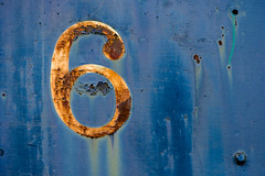 6 (kwphotos.com) Tags: six 6 train blue color rust old disrepair derilict weathered worn snoqualmie depot chipped paint white industrial