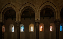 Stained glass clerestory windows (Tigra K) Tags: cefalù palermo italy it 2018 architdetail architecture blue byzantine cefalu church color column contemporary glass interior repetition romanesque sicily town vitrage window arch art pattern