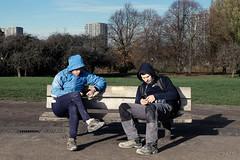 skiving off (PaulGibsonPhoto) Tags: london primrosehill camden tradesmen break pair bench candid street documentary fuji fujifilm x100s workwear film