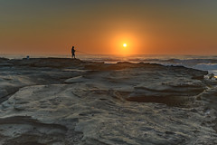 Sunrise , the Sea and the Fisherman (Merrillie) Tags: daybreak clearskies nature australia sky centralcoast newsouthwales rocks toowoonbay nsw morning beach ocean sea earlymorning waterscape coastal landscape outdoors seascape sunrise coast water dawn