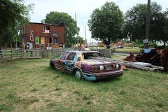 """USA Detroit Michigan east side Heidelberg Project featuring colorfully graffiti-ed car and building - """"Showin' Some Love"""" (moreska) Tags: usa detroit michigan heidelberg project eastside retro oldschool vehicle car carro 1980s lesabre graffiti ladder repurposed gutted empty lawn fence streetart travel tourism motor city wayne county us north america"""