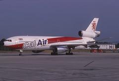 Calair DC-10-10; G-BJZD@PMI, October 1988 (Aero Icarus) Tags: slidescan plane aircraft flugzeug