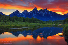 Sunset Grand Tetons Reflected in Beaver Ponds from Schwabachers Landing In Grand Teton National Park in Wyoming (@randalljhodges) Tags: sunset colors grandtetons mountains mountainrange rockies rockymountains wyoming grandtetonnationalpark west reflection beaverponds schwabacherslanding travel scenic destination usa unitedstates
