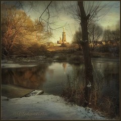 November evening in Borovsk. (odinvadim) Tags: iphoneart landscape iphoneonly iphonex iphoneography specialist church winter mytravelgram distressedfx sunset painterlymobileart iphone snapseed evening artist travel frost oldhouse textured forest river editmaster textures icolorama