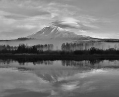 Mt. Adams at Trout Lake (bulldog008) Tags: mt mount adams volcano landscape snow sky morning nature trout lake troutlake washington mountain cloud lenticular fog mist beautiful view cascade range usa pnw pacific north west northwest peak autumn season outdoors trees wilderness reflection black white canon sx60hs