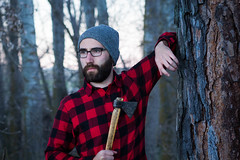 When life hands you branches, become a lumberjack. (pepsamu) Tags: canon canonistas 60d canon85mm 85mm18 canon85 portrait selfportrait autorretrato wood bosque woods forest madera timber lumberjack woodcutter axe ax hacha tronco trunk log santotomédezabarcos light luz atardecer evening spain españa ávila tree trees