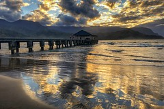 Blue and Gold (Jeff Bentz Photography) Tags: beach pier waves reflection sunset beautifulsunset princeville hanalei northshore hawaii kauai yellow gold blue