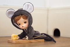 Oh no! I got caught! 😩 (Petitedoll) Tags: mouse kigurumi bjd doll meng secretdoll