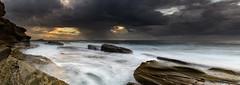 Rock Ledge Seascape Panorama (Merrillie) Tags: daybreak theskillion nature australia terrigal panoramic sunrise panorama morning newsouthwales rocks earlymorning nsw sea rocky ocean coast landscape dawn coastal waterscape outdoors seascape waves centralcoast water sky