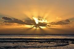 Niue sunset (Lynne Karen) Tags: sunset goldensunset waves sea rays sunrays beauty clouds water islandsunset niue