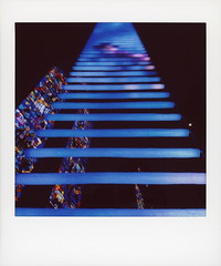 Jacob's Dream: A Luminous Path 2 (tobysx70) Tags: fujifilm fuji instax share sp3 square instant film smartphone ipad mini wifi printer jacob's dream a luminous path grace cathedral california street nob hill san francisco ca led art installation sculpture benjamin bergery jim campbell ladder stairway to heaven church stained glass window blue glasskey polawalk polavacation 042918 toby hancock photography