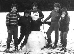 At camp (theirhistory) Tags: boy children kids school class form group pupils jumper trousers jacket wellies snow snowman ground rubberboots