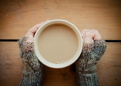 Cafe au Lait (Explored) (lclower19) Tags: 24 119in2019 522019 452 cafeaulait coffee facelessportrait cup hands gloves explored odt