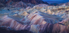 Death Valley-6075-Pano (Michael-Wilson) Tags: zabriskiepoint michaelwilson deathvalley pano panorama long wide large hills clay leanclay minerals predawn landscapephotography morninglight softlight light colors matte soft mounds texture soil desert barren california