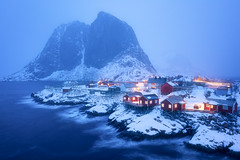 Hamnøy Blue Hour (Hilton Chen) Tags: norway longexposure mountolstind landscape winter hamnøy islands lofoten moody fishinghuts soft bluehour redcabins moskenes nordland no