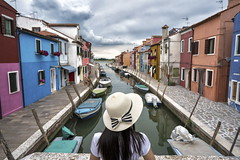 burano (Roberto.Trombetta) Tags: italia venezia venice hat cappello burano isola island sony alpha 7rm2 7rii carl zeiss batis225 batis river water canale rio boat barca church chiesa colors house home reflection black hair summer hot weather landscape people tourist holiday ilce 25 italy storm cloudy climate change