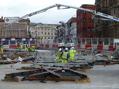 20181120 Talbot Square Tramway in Blackpool (blackpoolbeach) Tags: blackpool tramway tram track rails junction steconfer workers streetcar talbotsquare reilly concrete pump schwing