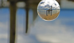Lensball view 1 (myraemery) Tags: lensball hamworthy dorset uk sand beach sky sea seaside groyne wood water inverted mirror image refraction glass ball clouds canon canoneos70d bokeh crystalball landscape