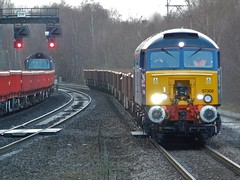 Something different to Toton! (The Walsall Spotter) Tags: directrailservices class57 57308 waterortonrailwaystation ukfreight bescotupengineerssidings totonnorthyard