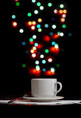 Cup with xmas lights (hoboton) Tags: aroma aromatic art background bar beverage black blue bokhe border bright cafe caffeine circle closeup coffee color copy cup dark drink espresso fluid foam fresh froth green hot light macro mug natural nobody party red reflection refreshment shape space steam still stilllife table tasty tea traditional up warm white