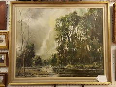 Oil on Board River Scene by R Martin Tomlinson £235 (Northcote Road Antiques Market) Tags: antiques