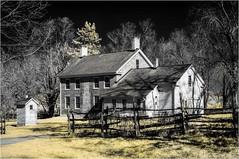 Garfield Farm Tavern (chuck.hunnicutt) Tags: farmhouse illinois camptonhills garfieldfarmmuseum tavern farm blackandwhitewithcolor blackandwhite infrared590nm