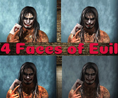 """"""" The 4 Faces of Evil """" (maka_kagesl) Tags: second secondlife sl life virtual videogame game gaming joker paint clown evil horror scary creepy portrait"""