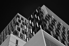 Kirby Grove at Levy Park (infrared) (dr_marvel) Tags: houston tx texas ir infrared architecture glass reflections offices building midrise blackandwhite