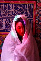 Angel among the lights (borna.shafiei) Tags: shiraz light morning mosque iran girl women white flower red persia
