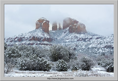 Cathedral Rock in Snow (Virtual Reality in film) Tags: cathedralrock sedona snow winter afternoon sunset arizona