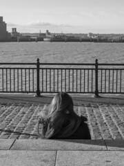 Mersey Watching (Charliebubbles) Tags: olympusem5mkii olympus1250mmez merseyside liverpool museumofliverpool photoshopcc blackandwhite candid mono street travel unitedkingdom