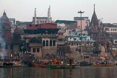 The Ganges river at Varanasi (irisnoack) Tags: ghat burning dead ganges river india varanasi holy