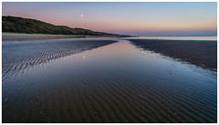 To the moon and back (Rob Schop) Tags: zoutelande beach lowtide moon bluehour zeeland samyang12mmf20 f8 sonya6000 nederland sea pola hoyaprofilters