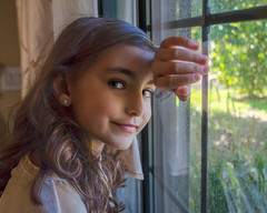 Window Light (Kevin MG) Tags: portrait window girl young youth cute pretty little smile brunette adorable adolescent schoolgirl elementary athome