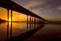 Shortest day sunset (Len Langevin) Tags: sunset california oceanbeachpier sandiego landscape wastcoast pacific ocean reflections vanishingpoint nikon d7100 tokina 1116