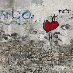 Love Ladder (David Abresparr) Tags: graffiti muralpainting muralmålning streetart hjärta heart stege ladder exit firenze florence kärlek ögon eyes toscana tuscany italy italien wall vägg