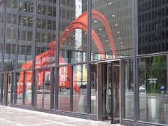 Chicago, Main Post Office, Reflected Flamingo Stabile Sculpture (Artist: Alexander Calder) (Mary Warren 12.0+ Million Views) Tags: chicago architecture building reflection red postoffice flamingo sculpture alexandercalder stabile