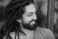 Tibor (ChrisRSouthland (mostly off, traveling & working)) Tags: nikond850 nikkor70200mmf40 wellington portrait blackwhite monochrome blackandwhite schwarzweiss male man beard rasta dreadlocks smile