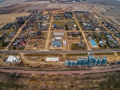 Cavor is a farming Community in Eastern South Dakota (JacobBoomsma) Tags: spring above village rural snow silos farming agricultural small mainstreet lake silo ariel town agriculture southdakota buildings city winter cavor