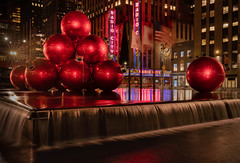 Christmas on 6th Avenue (Edwin Wagner) Tags: christmas longexposure reflections nyc manhattan night radiocity red christmasdecoration newyork
