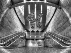 Underground Malmö (Karsten Gieselmann) Tags: 8mmf18 em5markii europa farbe fisheye grau hdr mzuiko malmo microfourthirds monochrome olympus reise rolltreppe schwarz schwarzweis sweden triangeln weis availablelight bw black blackwhite color escalator gray kgiesel m43 mft mono sw travel white malmö skånelän schweden