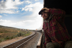 jon sitting on Wyoming (alex povey) Tags: trains hobo hobos ridingfreight wyoming