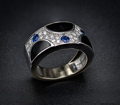 Passman Seascape Ring (Safdave) Tags: jewelry passman sapphire diamond whitegold designer ring blackcoral