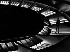 ring of lights (heinzkren) Tags: fantasy schwarzweis blackandwhite bw sw monochrome lumix composing lichtkuppel man mann architecture magical mystery panasonic dark abstract lightdome airport schwechat architektur innamoramento silhouette
