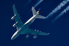 Lufthansa Airbus A380-841 D-AIMB (Thames Air) Tags: lufthansa airbus a380841 daimb contrail telescope dobsonian contrails overhead vapour trail