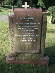Sapper William John Matthews (Living in Dorset) Tags: aldershotmilitarycemetery aldershot hampshire england uk gb grave headstone servicegrave 1932 sapper williamjohnmatthews adamsny re royalengineers